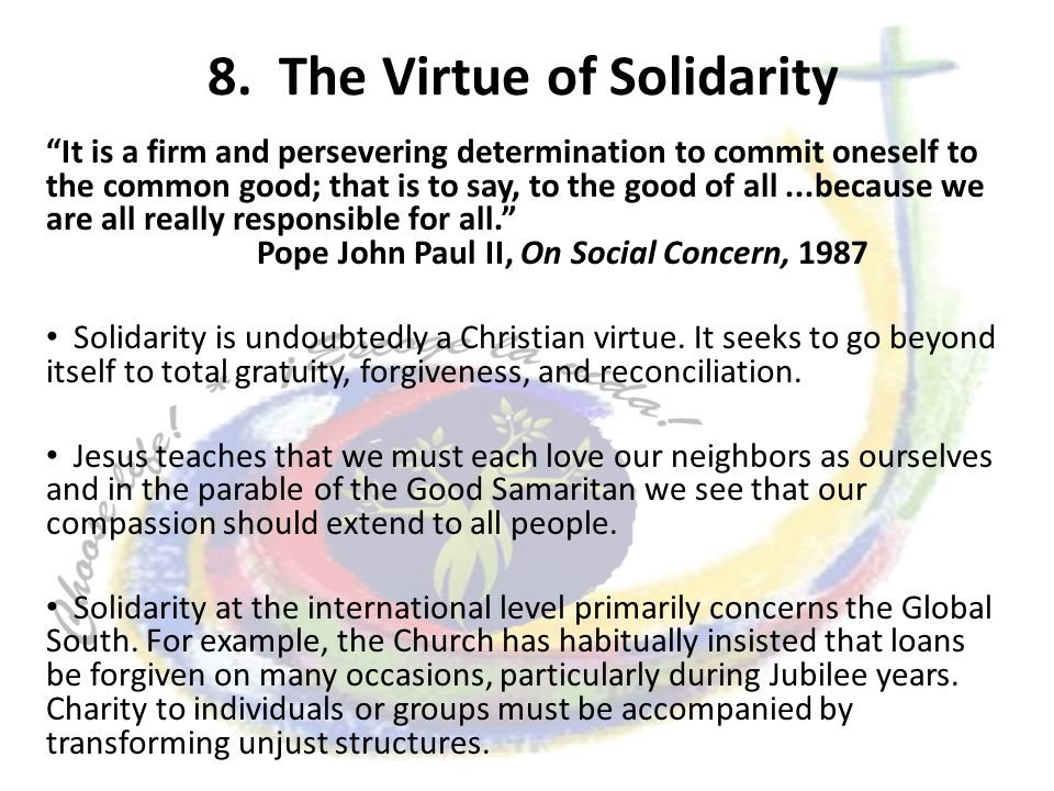 8. The Virtue of Solidarity It is a firm and persevering determination to commit oneself to the common good; that is to say, to the good of all...beca