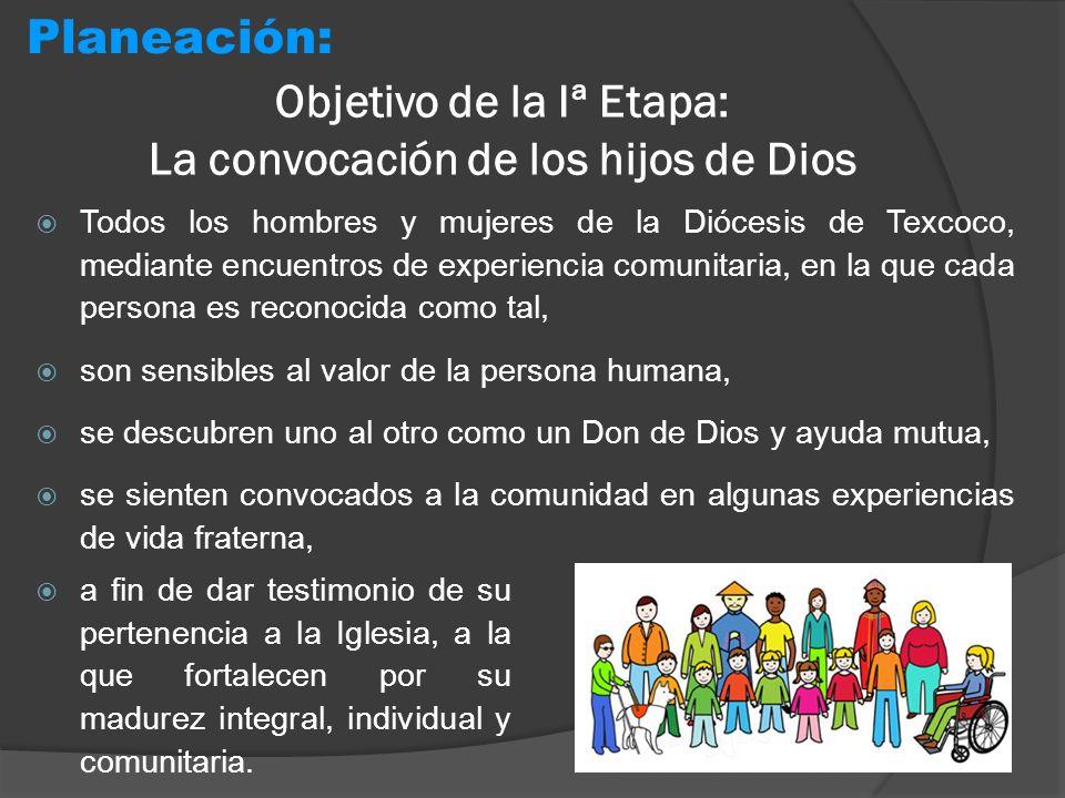Objetivo de la Iª Etapa: La convocación de los hijos de Dios Todos los hombres y mujeres de la Diócesis de Texcoco, mediante encuentros de experiencia