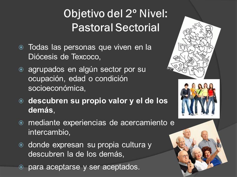Objetivo del 2º Nivel: Pastoral Sectorial Todas las personas que viven en la Diócesis de Texcoco, agrupados en algún sector por su ocupación, edad o c
