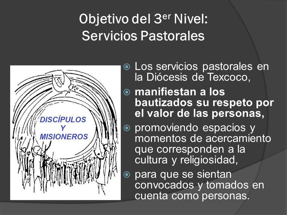 Objetivo del 3 er Nivel: Servicios Pastorales Los servicios pastorales en la Diócesis de Texcoco, manifiestan a los bautizados su respeto por el valor