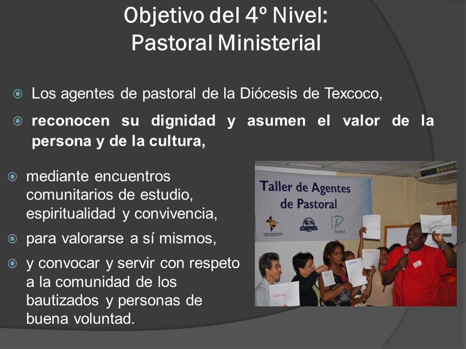 Objetivo del 4º Nivel: Pastoral Ministerial Los agentes de pastoral de la Diócesis de Texcoco, reconocen su dignidad y asumen el valor de la persona y