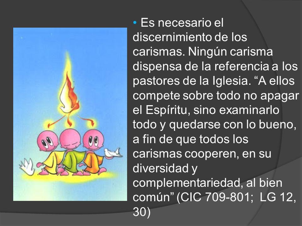 Es necesario el discernimiento de los carismas. Ningún carisma dispensa de la referencia a los pastores de la Iglesia. A ellos compete sobre todo no a