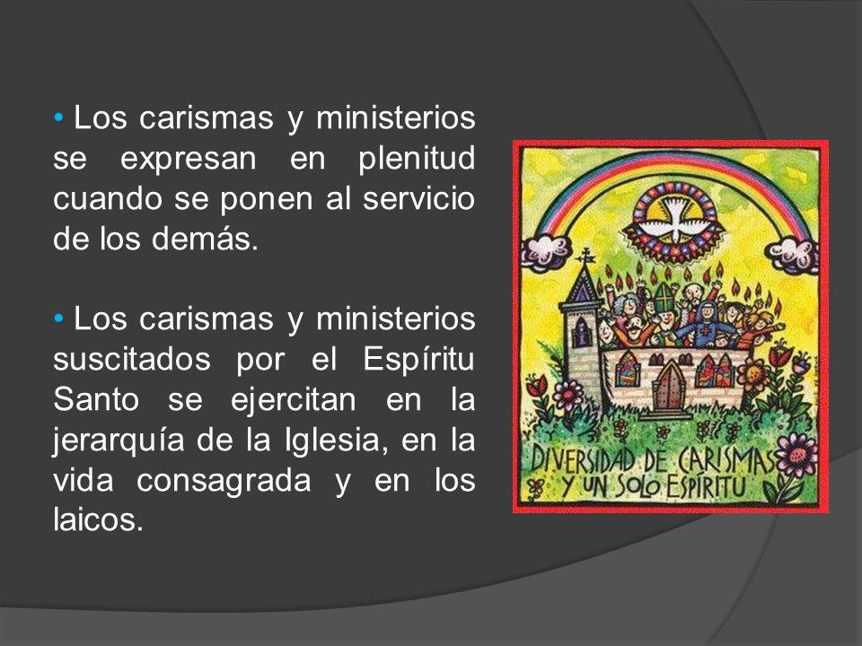 Los carismas y ministerios se expresan en plenitud cuando se ponen al servicio de los demás. Los carismas y ministerios suscitados por el Espíritu San