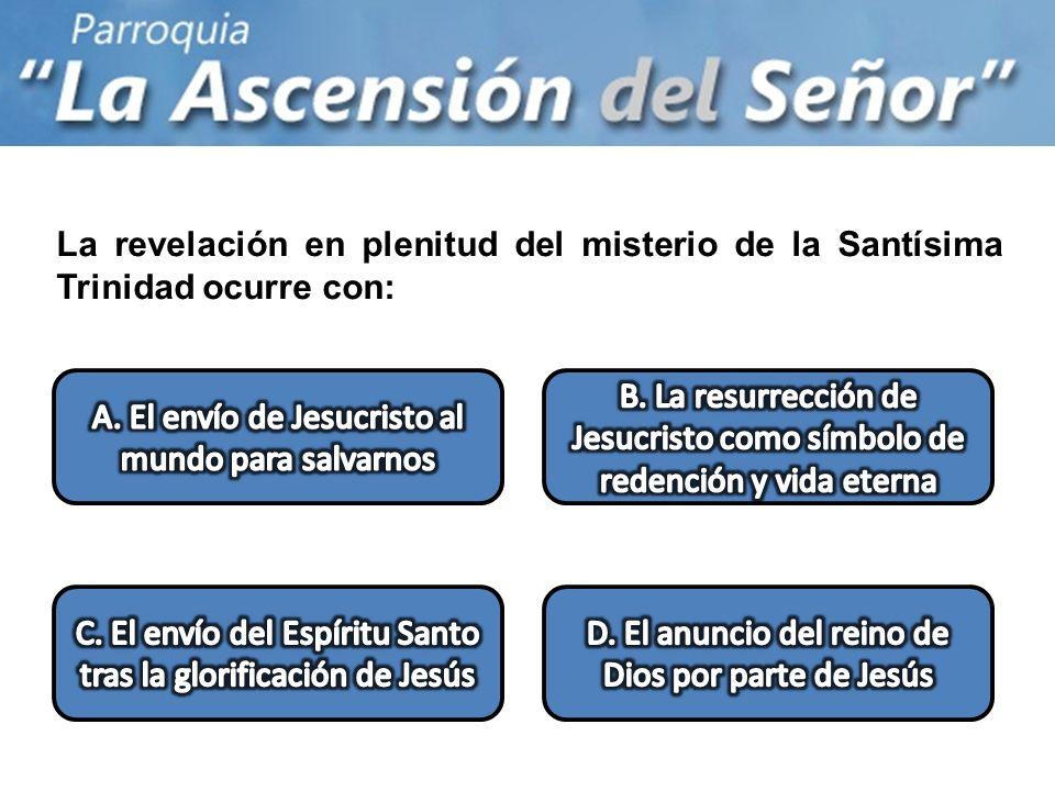 La revelación en plenitud del misterio de la Santísima Trinidad ocurre con:
