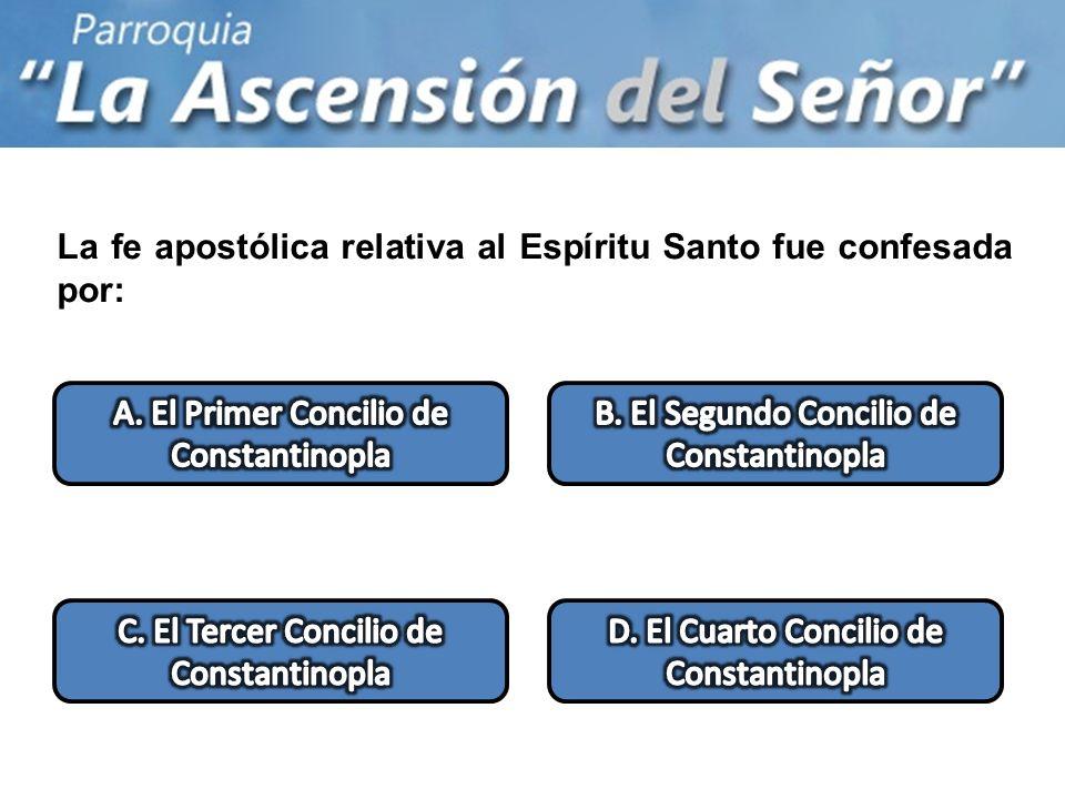 La fe apostólica relativa al Espíritu Santo fue confesada por: