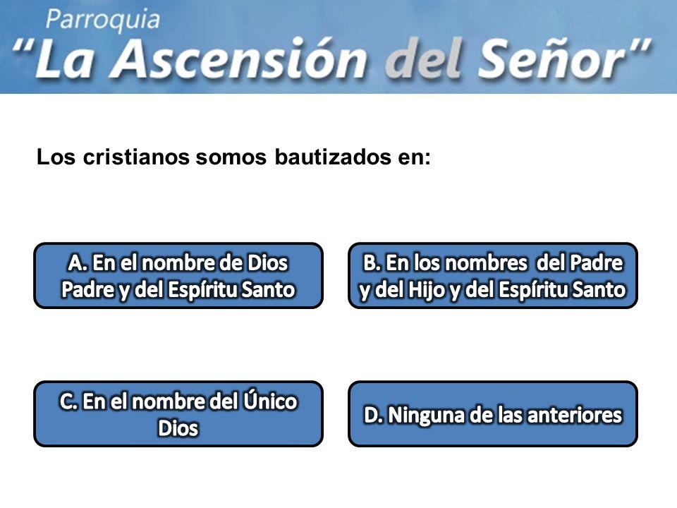 Los cristianos somos bautizados en: