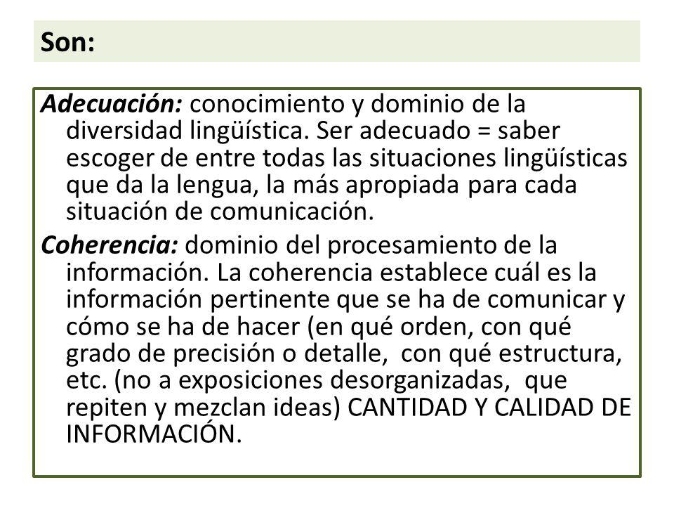 Son: Adecuación: conocimiento y dominio de la diversidad lingüística.