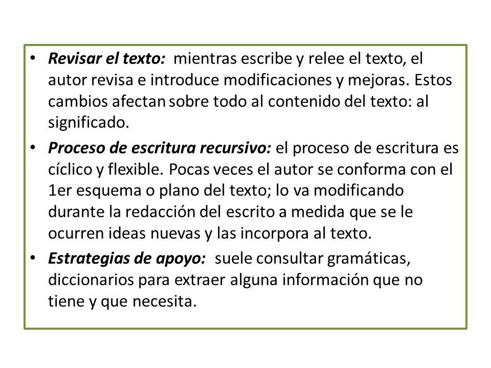 Revisar el texto: mientras escribe y relee el texto, el autor revisa e introduce modificaciones y mejoras.