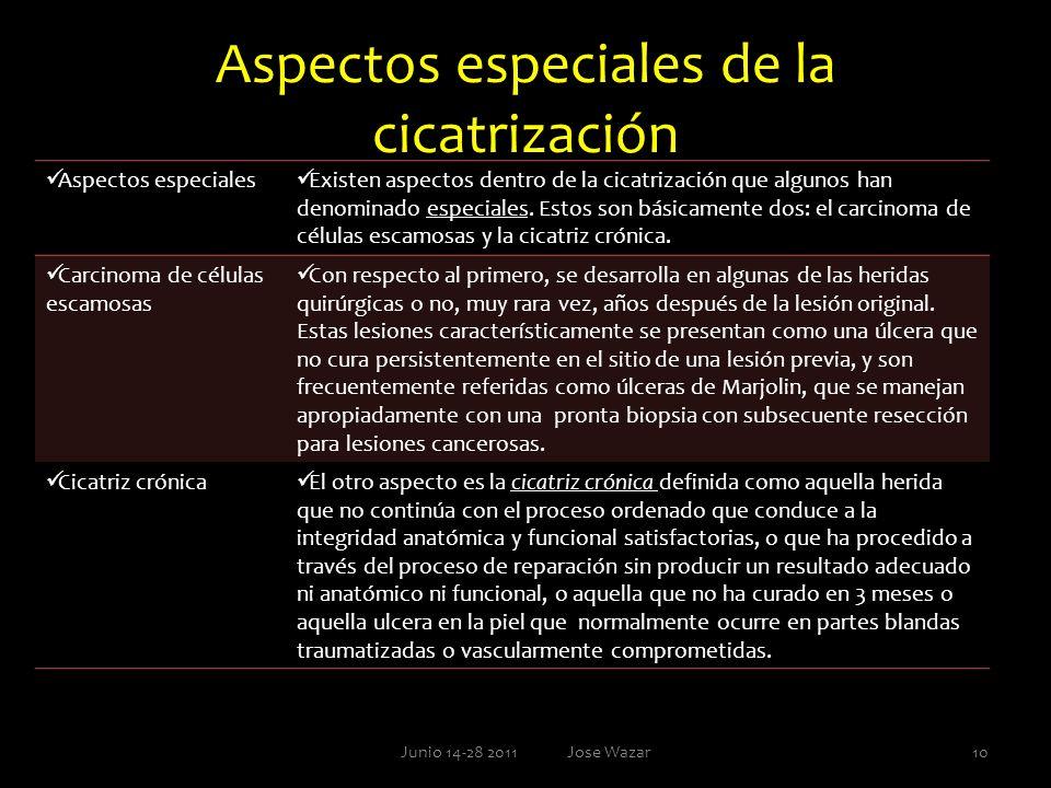 Aspectos especiales de la cicatrización Aspectos especiales Existen aspectos dentro de la cicatrización que algunos han denominado especiales. Estos s