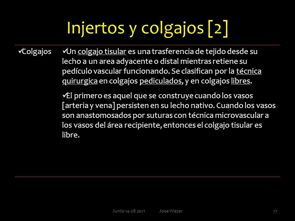 Injertos y colgajos [2] Junio 14-28 2011 Jose Wazar17 Colgajos Un colgajo tisular es una trasferencia de tejido desde su lecho a un area adyacente o d