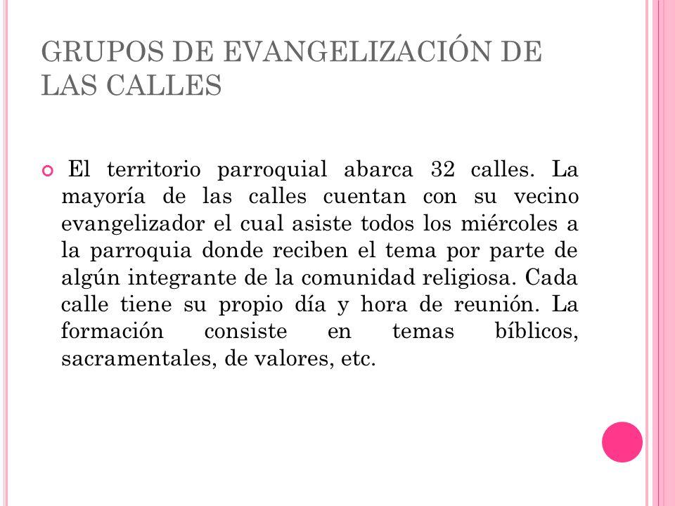 GRUPOS DE EVANGELIZACIÓN DE LAS CALLES El territorio parroquial abarca 32 calles.