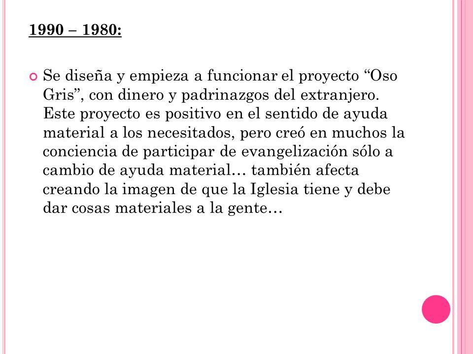 1990 – 1980: Se diseña y empieza a funcionar el proyecto Oso Gris, con dinero y padrinazgos del extranjero.