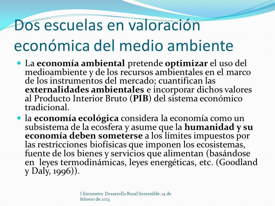 Dos escuelas en valoración económica del medio ambiente La economía ambiental pretende optimizar el uso del medioambiente y de los recursos ambientale