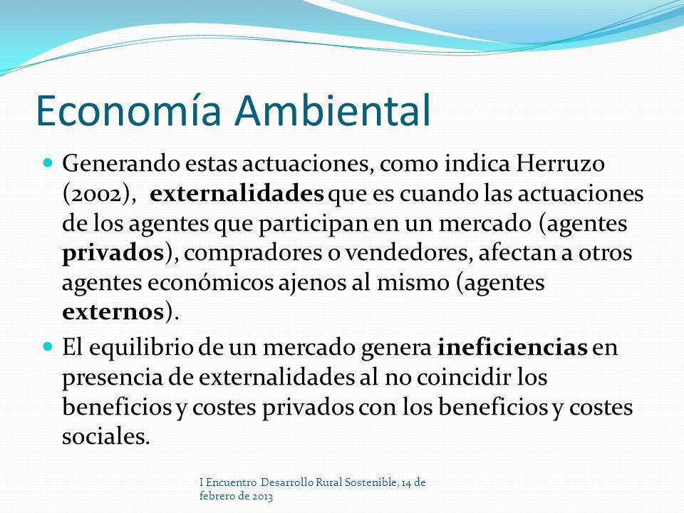 Economía Ambiental Generando estas actuaciones, como indica Herruzo (2002), externalidades que es cuando las actuaciones de los agentes que participan