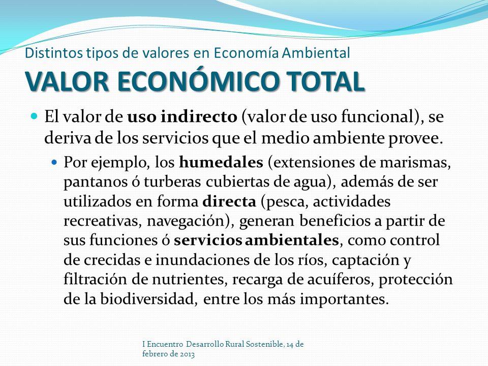 VALOR ECONÓMICO TOTAL Distintos tipos de valores en Economía Ambiental VALOR ECONÓMICO TOTAL El valor de uso indirecto (valor de uso funcional), se de