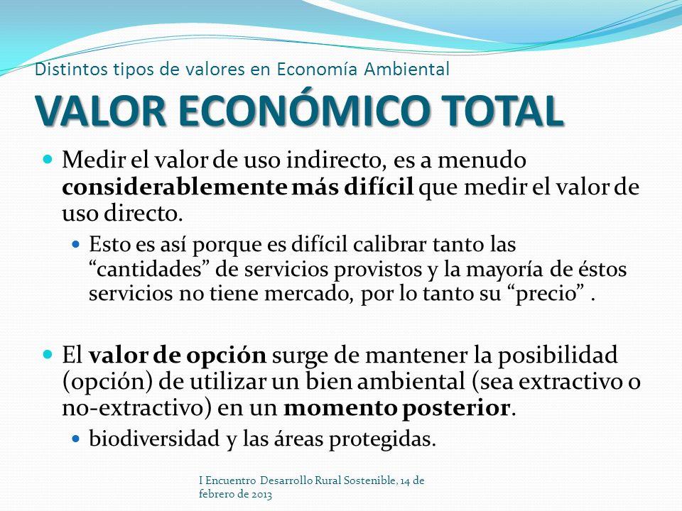 VALOR ECONÓMICO TOTAL Distintos tipos de valores en Economía Ambiental VALOR ECONÓMICO TOTAL Medir el valor de uso indirecto, es a menudo considerable