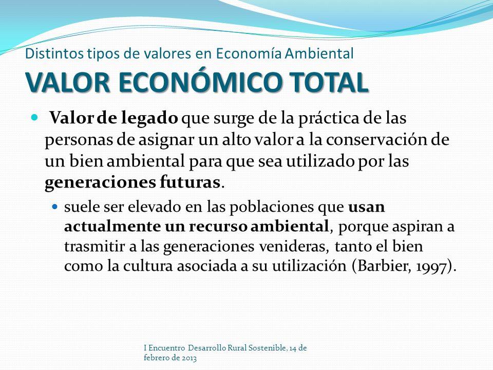 VALOR ECONÓMICO TOTAL Distintos tipos de valores en Economía Ambiental VALOR ECONÓMICO TOTAL Valor de legado que surge de la práctica de las personas