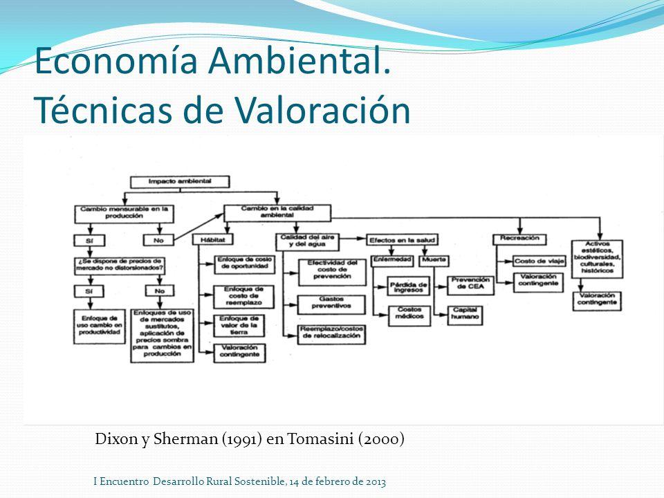 Economía Ambiental. Técnicas de Valoración I Encuentro Desarrollo Rural Sostenible, 14 de febrero de 2013 Dixon y Sherman (1991) en Tomasini (2000)