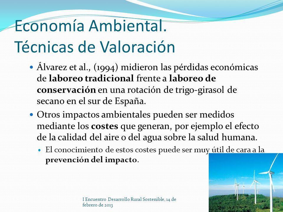 Economía Ambiental. Técnicas de Valoración Álvarez et al., (1994) midieron las pérdidas económicas de laboreo tradicional frente a laboreo de conserva