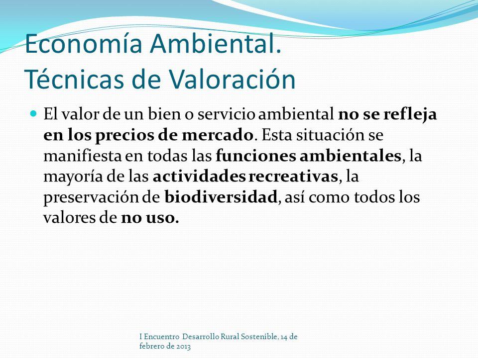 Economía Ambiental. Técnicas de Valoración El valor de un bien o servicio ambiental no se refleja en los precios de mercado. Esta situación se manifie