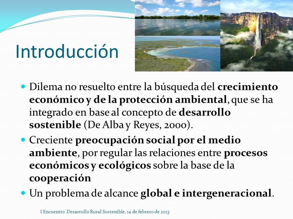 Introducción Dilema no resuelto entre la búsqueda del crecimiento económico y de la protección ambiental, que se ha integrado en base al concepto de d