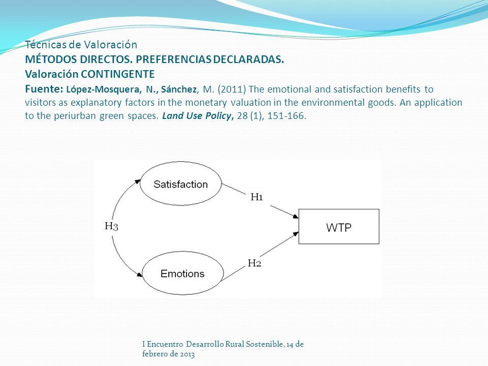 Técnicas de Valoración MÉTODOS DIRECTOS. PREFERENCIAS DECLARADAS. Valoración CONTINGENTE Fuente: López-Mosquera, N., Sánchez, M. (2011) The emotional