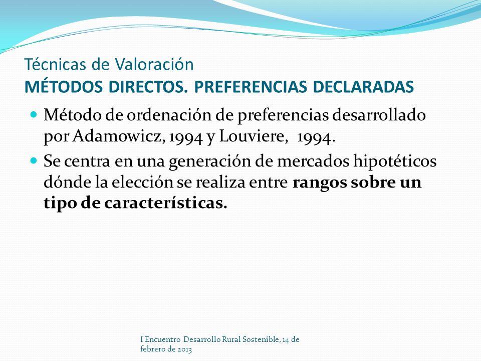 Técnicas de Valoración MÉTODOS DIRECTOS. PREFERENCIAS DECLARADAS Método de ordenación de preferencias desarrollado por Adamowicz, 1994 y Louviere, 199