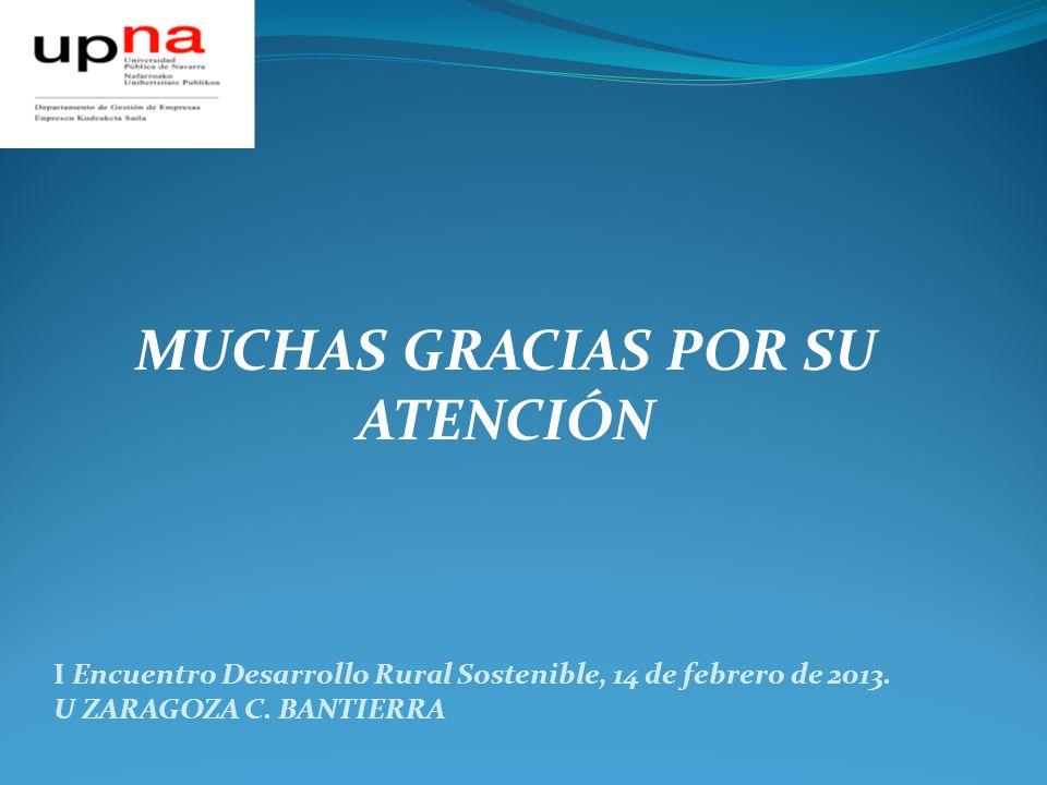 MUCHAS GRACIAS POR SU ATENCIÓN I Encuentro Desarrollo Rural Sostenible, 14 de febrero de 2013. U ZARAGOZA C. BANTIERRA