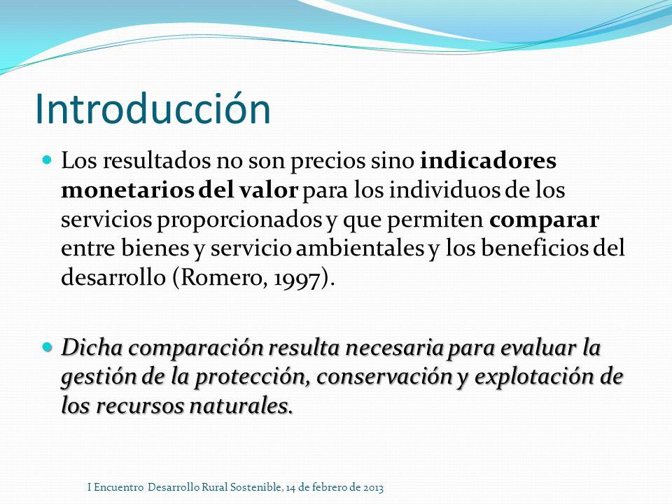 Introducción Los resultados no son precios sino indicadores monetarios del valor para los individuos de los servicios proporcionados y que permiten co