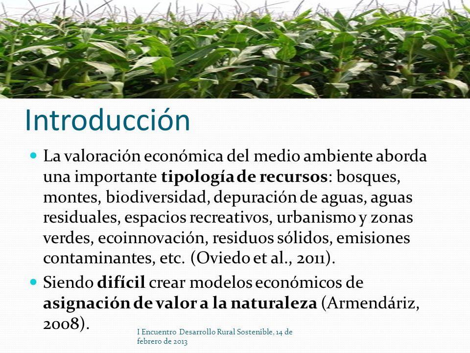 Introducción La valoración económica del medio ambiente aborda una importante tipología de recursos: bosques, montes, biodiversidad, depuración de agu