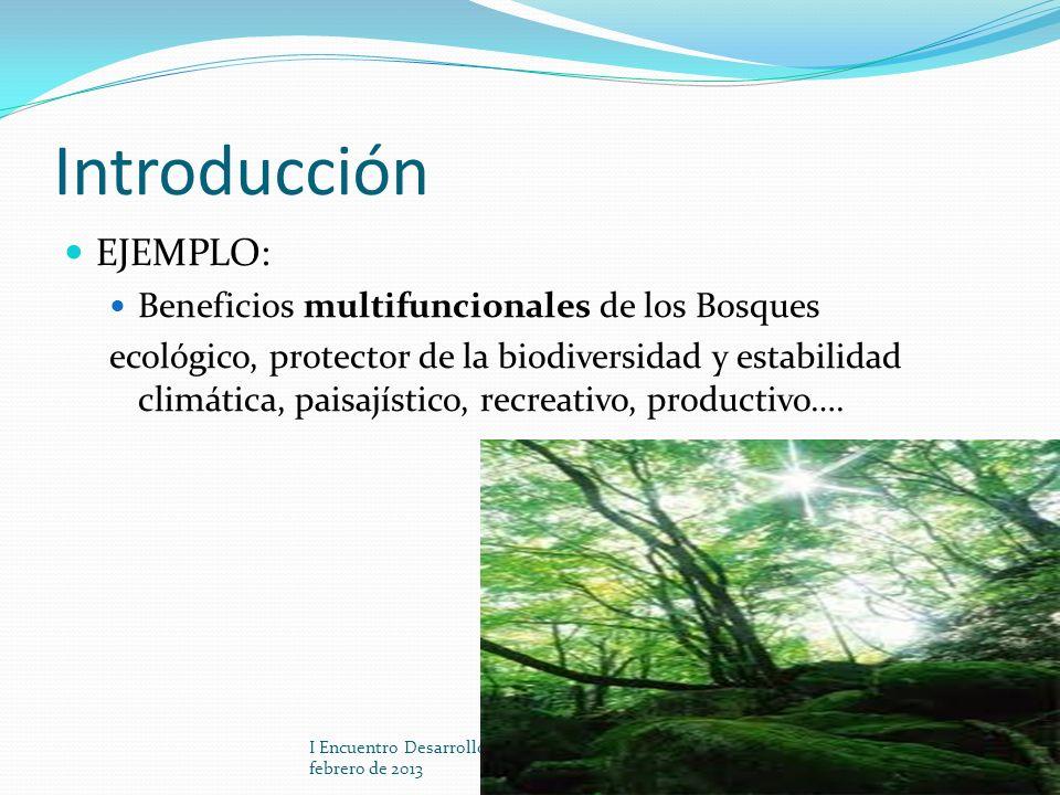 Introducción EJEMPLO: Beneficios multifuncionales de los Bosques ecológico, protector de la biodiversidad y estabilidad climática, paisajístico, recre