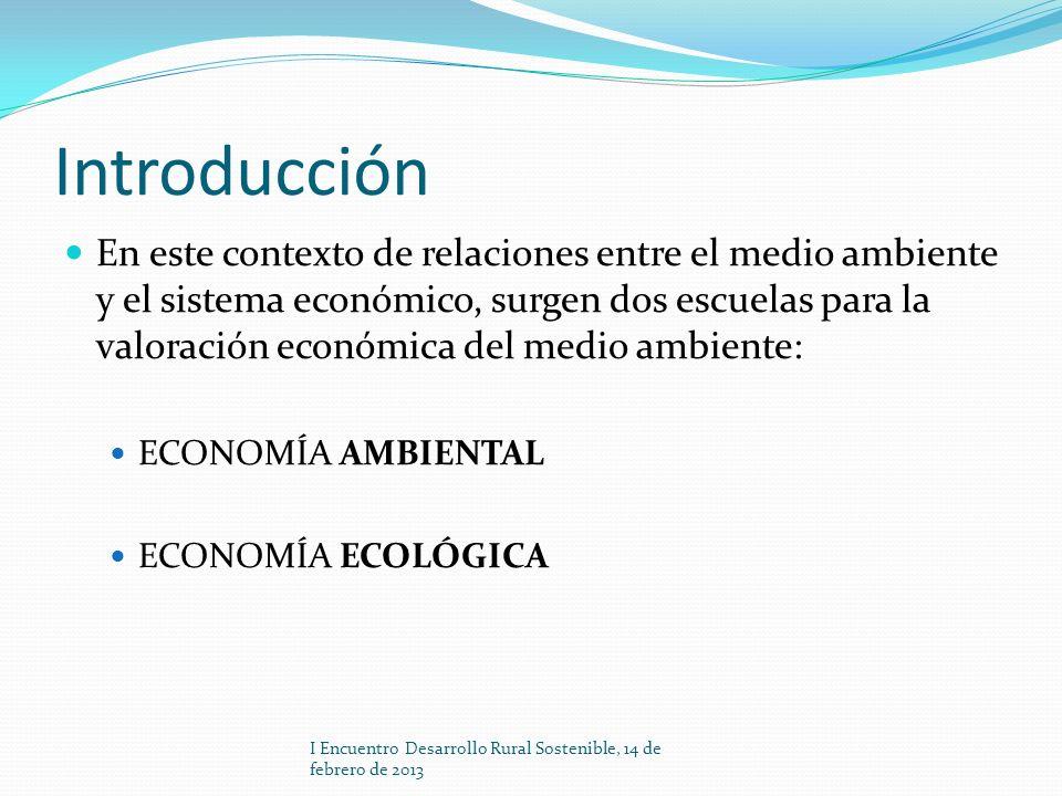 Introducción En este contexto de relaciones entre el medio ambiente y el sistema económico, surgen dos escuelas para la valoración económica del medio