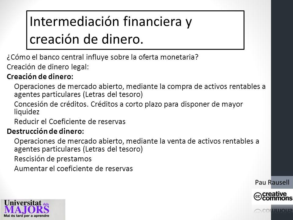 Intermediación financiera y creación de dinero. Los bancos y la creación de dinero bancario. La oferta monetaria Coeficiente de reserva de un 10%. Sis