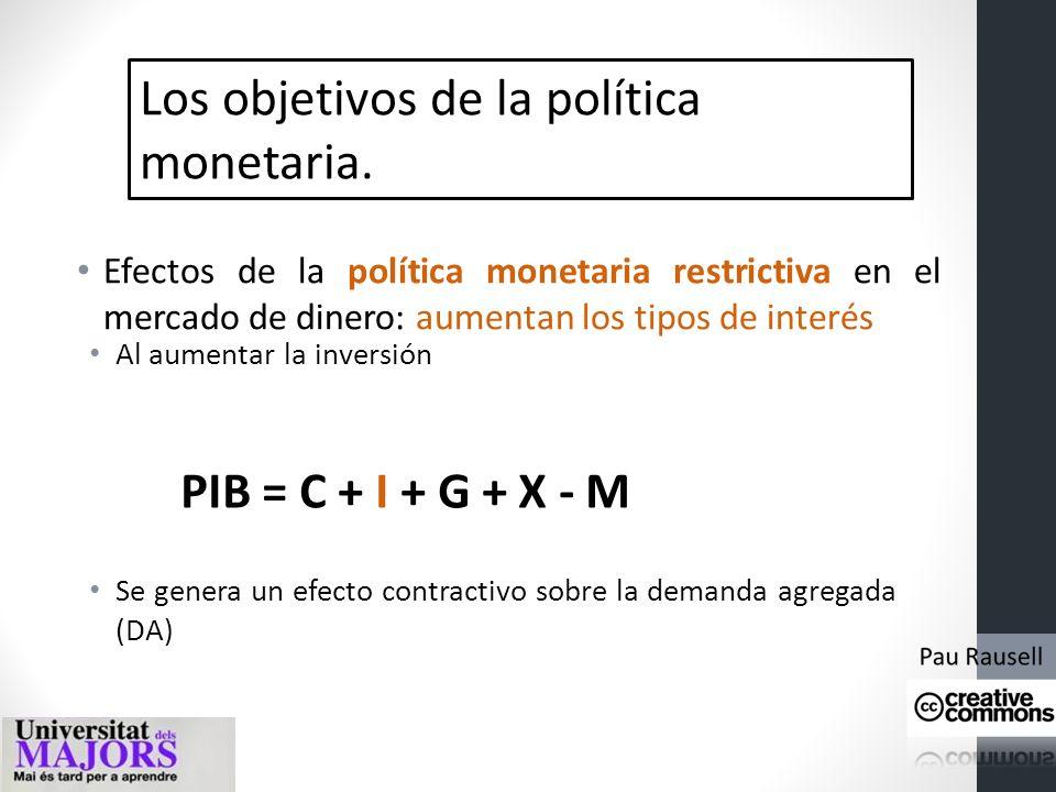 Los objetivos de la política monetaria. Efectos de la política monetaria restrictiva en el mercado de dinero: aumentan los tipos de interés