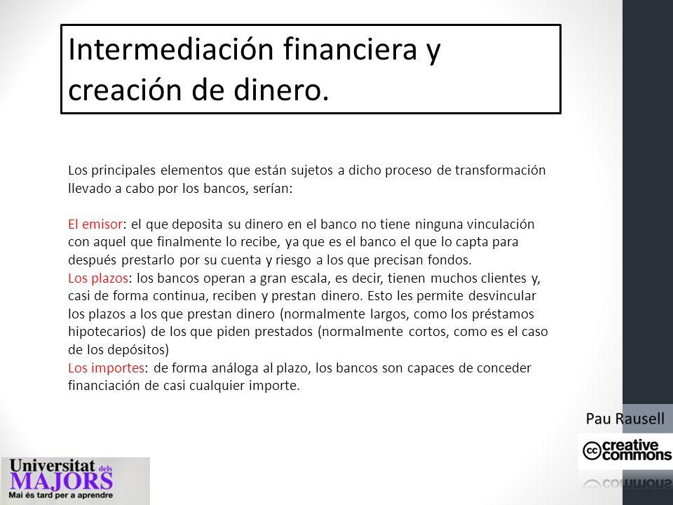 Intermediación financiera y creación de dinero. INVERSOR, CONSUMIDOR SISTEMA FINANCIERO AHORRADOR DINERO DEPÓSITOPRESTAMO
