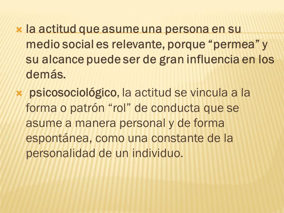 la actitud que asume una persona en su medio social es relevante, porque permea y su alcance puede ser de gran influencia en los demás. psicosociológi