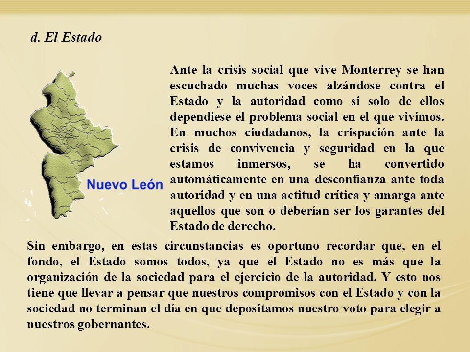 Ante la crisis social que vive Monterrey se han escuchado muchas voces alzándose contra el Estado y la autoridad como si solo de ellos dependiese el p