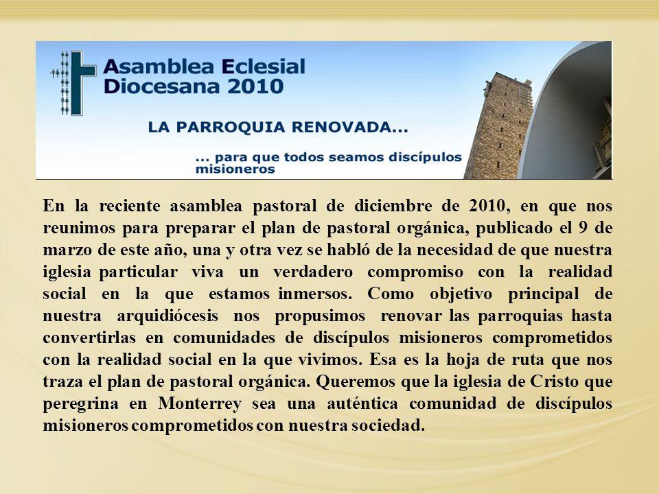 En la reciente asamblea pastoral de diciembre de 2010, en que nos reunimos para preparar el plan de pastoral orgánica, publicado el 9 de marzo de este
