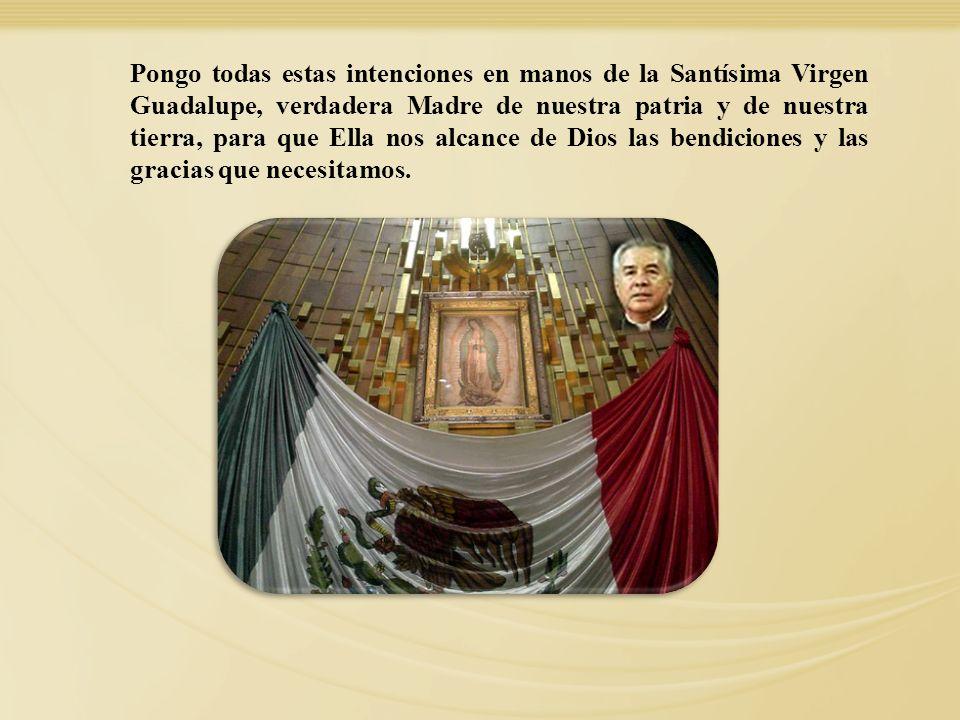 Pongo todas estas intenciones en manos de la Santísima Virgen Guadalupe, verdadera Madre de nuestra patria y de nuestra tierra, para que Ella nos alca