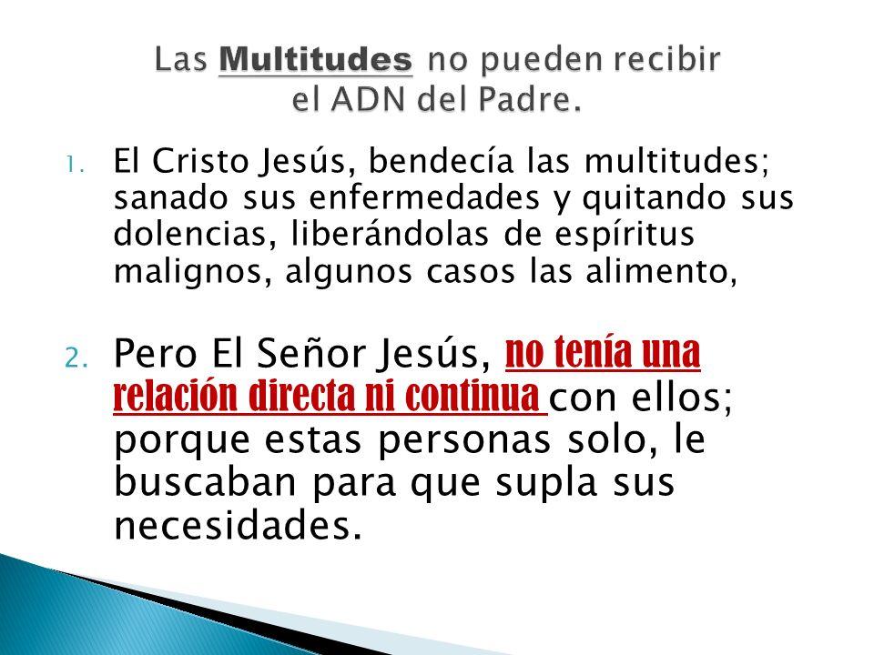 1. El Cristo Jesús, bendecía las multitudes; sanado sus enfermedades y quitando sus dolencias, liberándolas de espíritus malignos, algunos casos las a