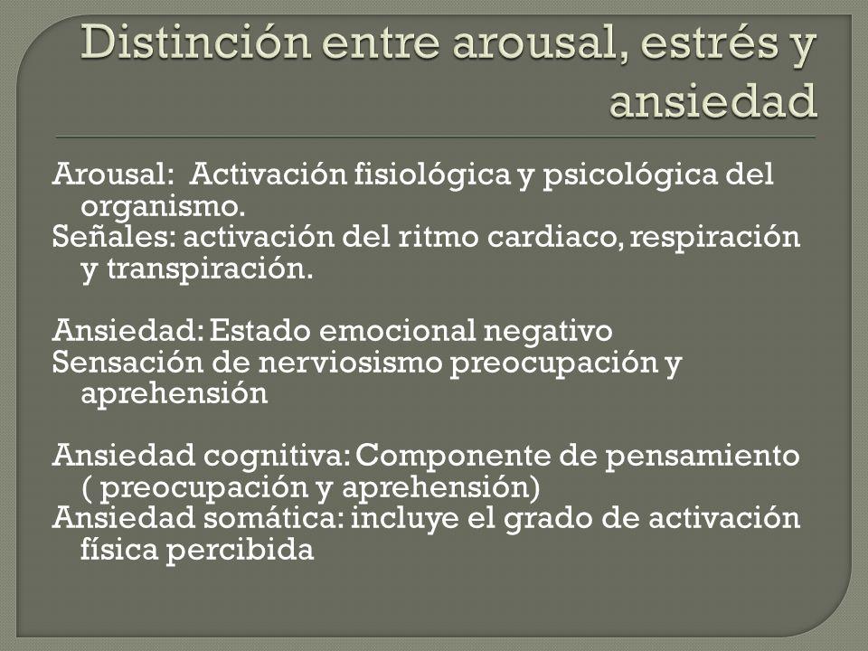 Arousal: Activación fisiológica y psicológica del organismo.