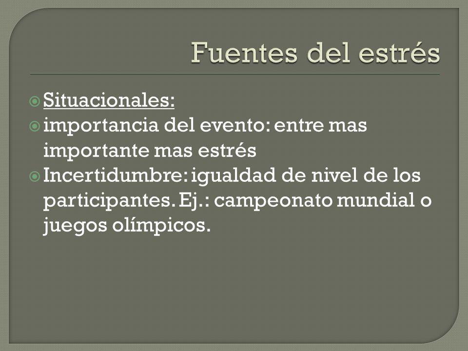 Situacionales: importancia del evento: entre mas importante mas estrés Incertidumbre: igualdad de nivel de los participantes.
