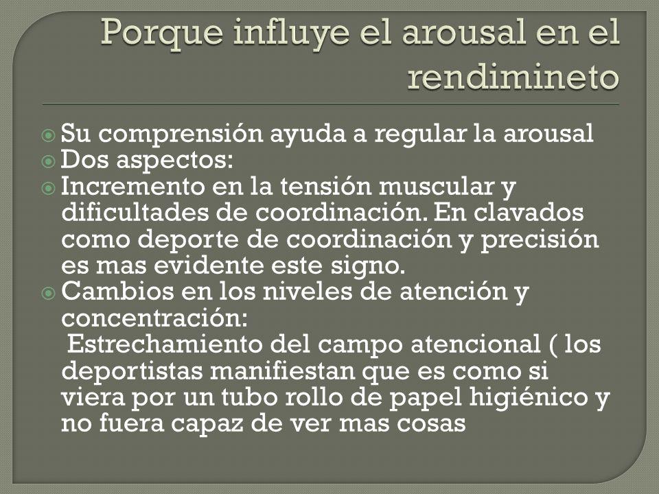 Su comprensión ayuda a regular la arousal Dos aspectos: Incremento en la tensión muscular y dificultades de coordinación.