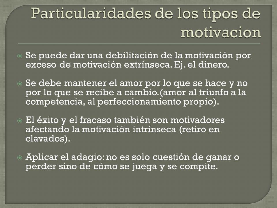 Se puede dar una debilitación de la motivación por exceso de motivación extrínseca.