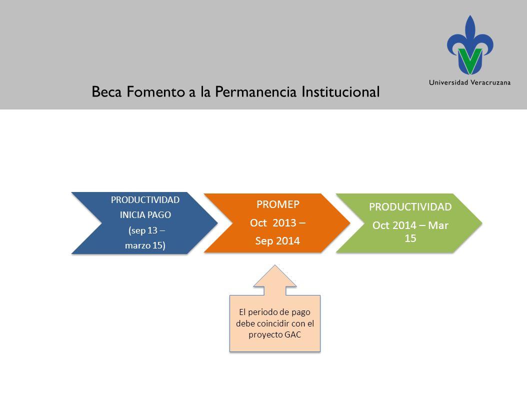 Beca Fomento a la Permanencia Institucional El periodo de pago debe coincidir con el proyecto GAC
