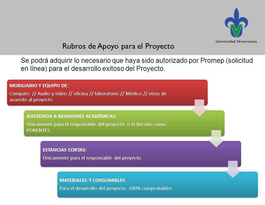 Se podrá adquirir lo necesario que haya sido autorizado por Promep (solicitud en línea) para el desarrollo exitoso del Proyecto.