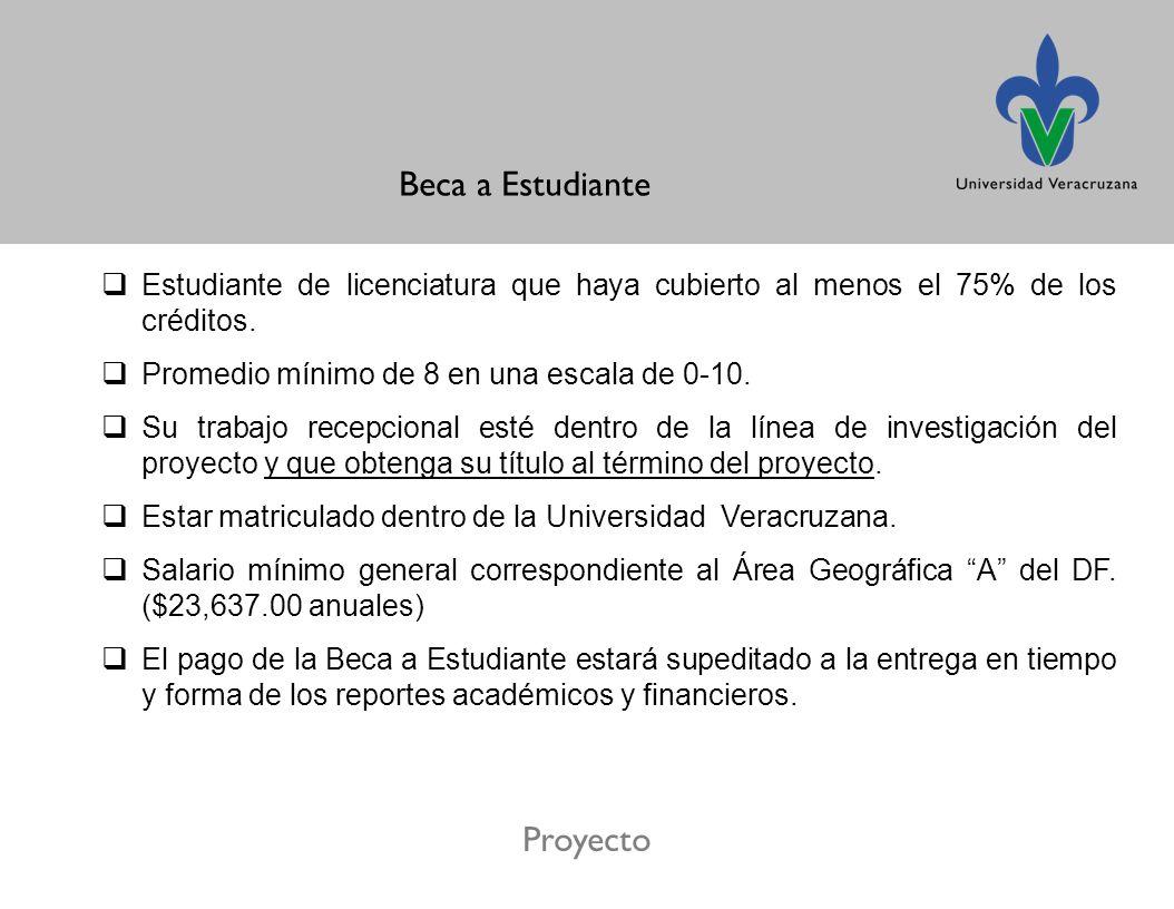 Proyecto Beca a Estudiante Estudiante de licenciatura que haya cubierto al menos el 75% de los créditos.