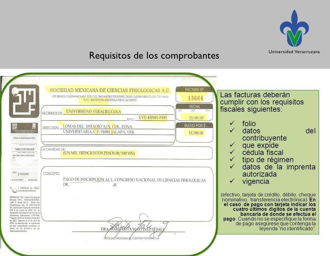 Requisitos de los comprobantes Las facturas deberán cumplir con los requisitos fiscales siguientes: folio datos del contribuyente que expide cédula fiscal tipo de régimen datos de la imprenta autorizada vigencia (efectivo, tarjeta de crédito, débito, cheque nominativo, transferencia electrónica).