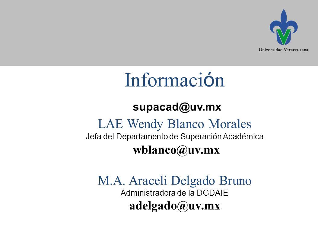 Informaci ó n supacad@uv.mx LAE Wendy Blanco Morales Jefa del Departamento de Superación Académica wblanco@uv.mx M.A.