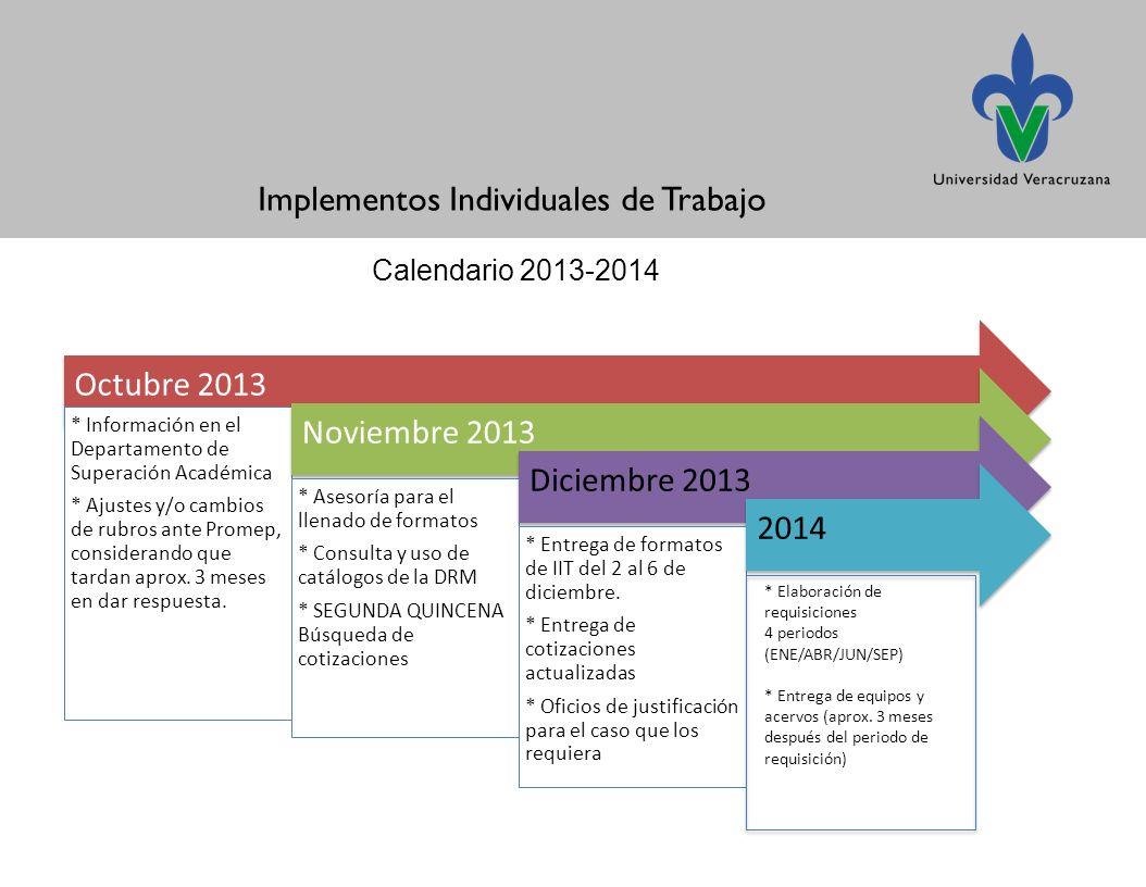 Implementos Individuales de Trabajo Calendario 2013-2014 Octubre 2013 * Información en el Departamento de Superación Académica * Ajustes y/o cambios de rubros ante Promep, considerando que tardan aprox.